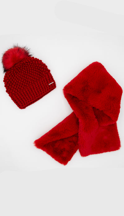 risky red crochet hat with pull through scarf