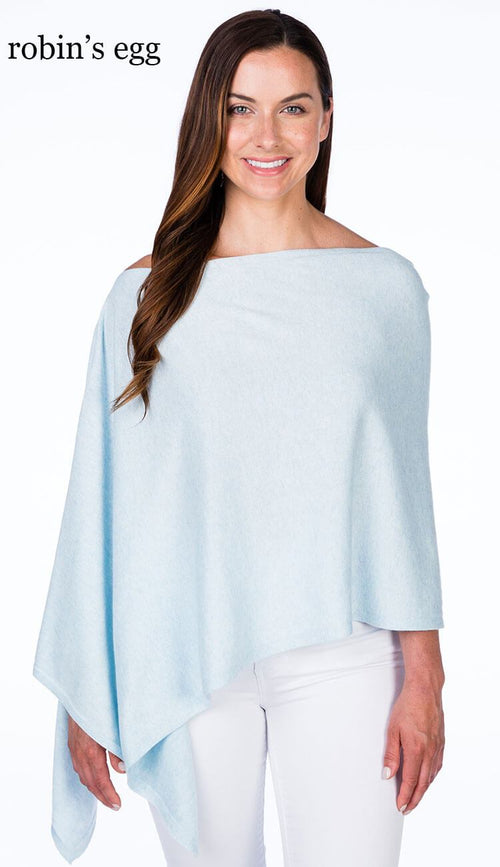 caroline grace cotton cashmere topper in robin's egg blue