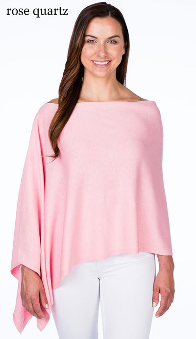 caroline grace cotton cashmere topper in rose quartz