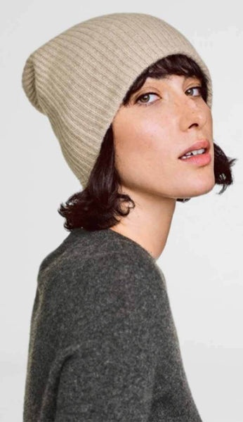 Sand Wisp heather beanie by white and warren