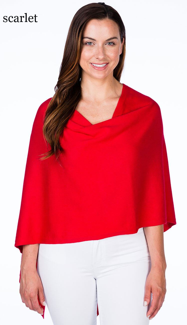 caroline grace cotton cashmere topper in scarlet