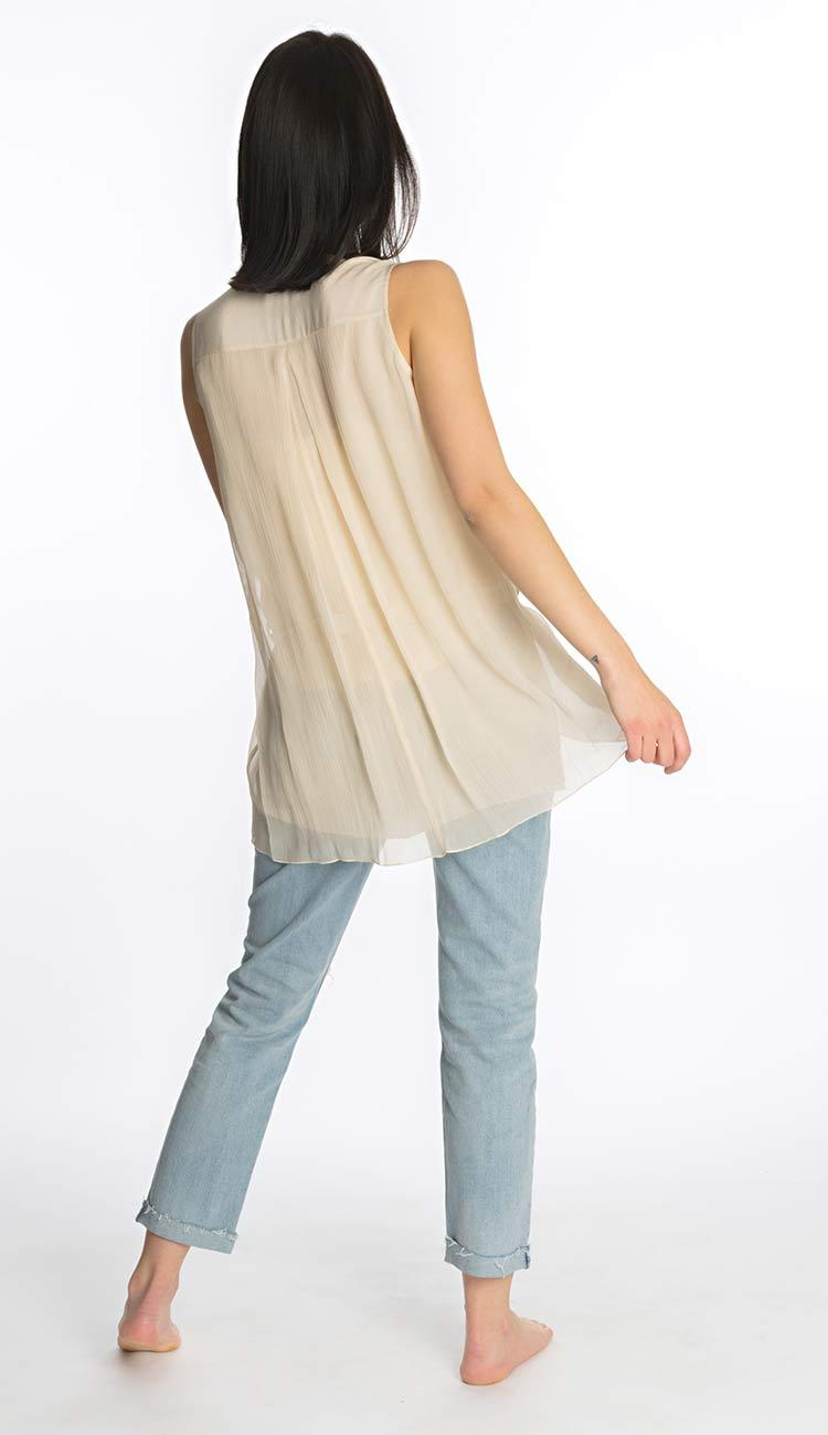 sleeveless tank blush silk by laura siegel back view