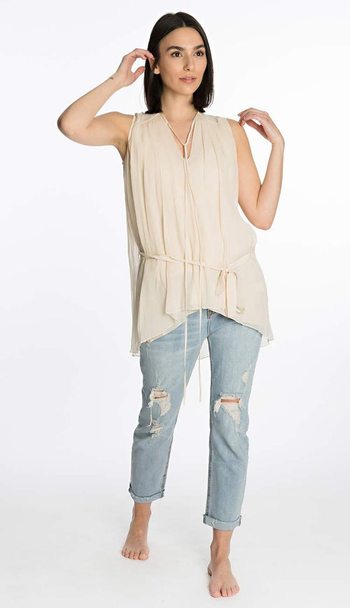 sleevless silk top by laura siegel front view