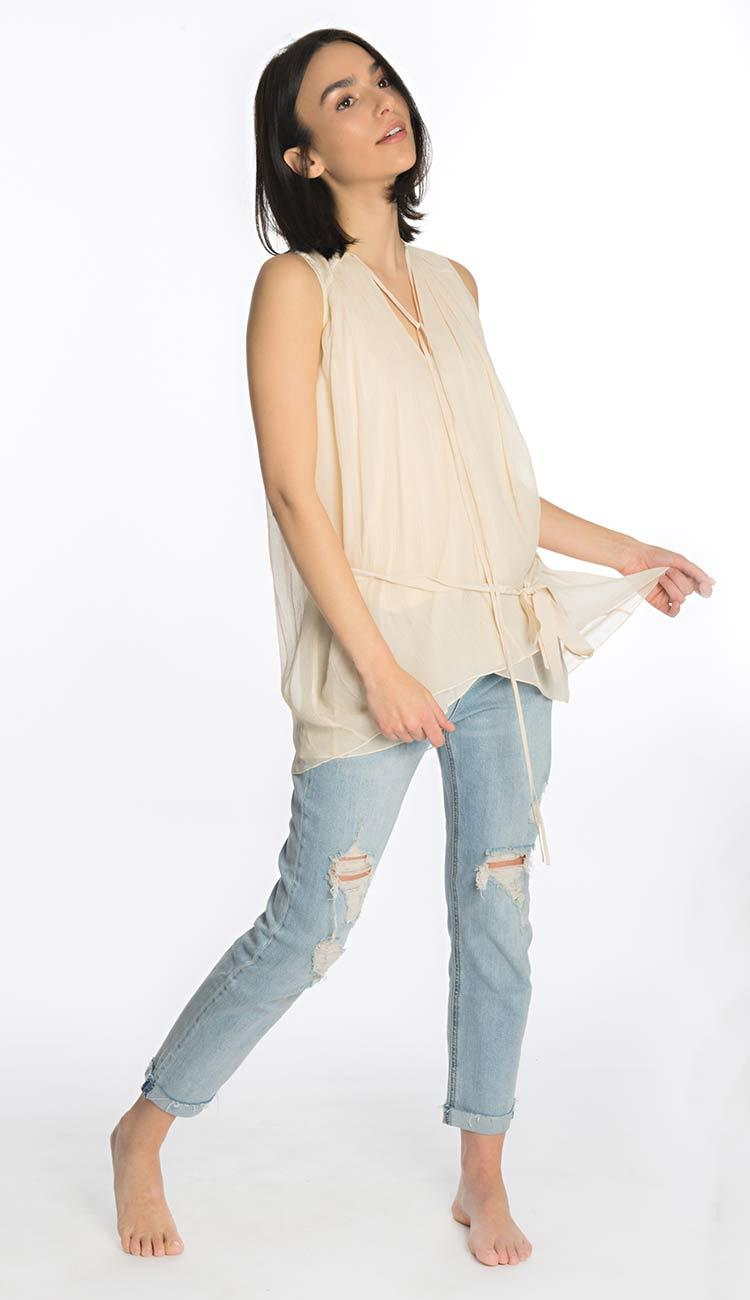 sleeveless tank blush silk by laura siegel side view
