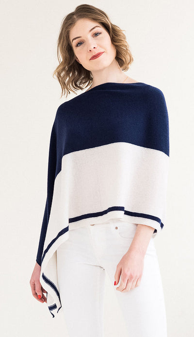 split color topper in navy and white - claudia nichole cashmere