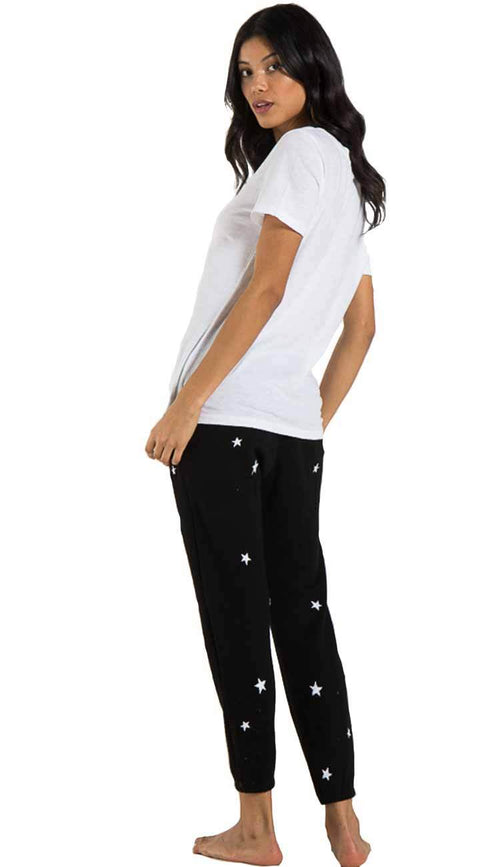 night jogger sweatpants in black and white stars by philanthropy