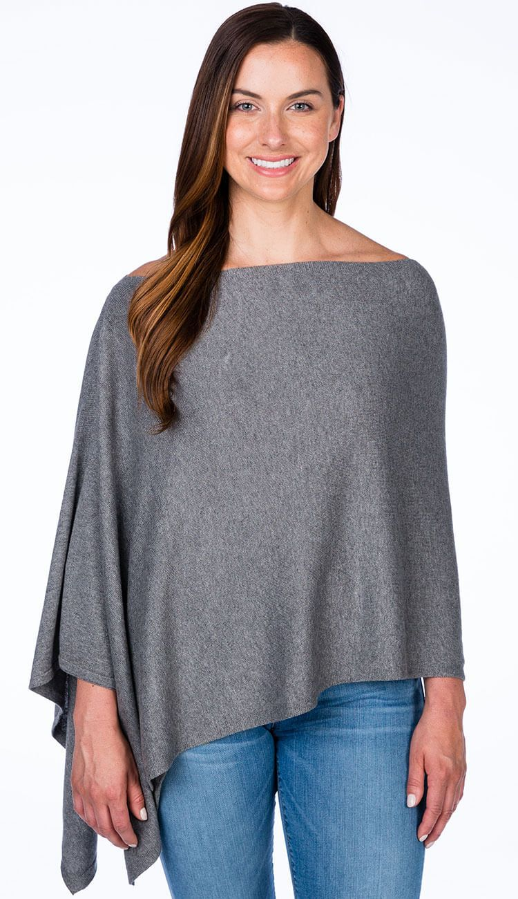 cotton cashmere topper by caroline grace in steel