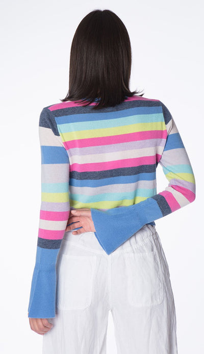 stripe bell-sleeve cashmere sweater back view by autumn cashmere