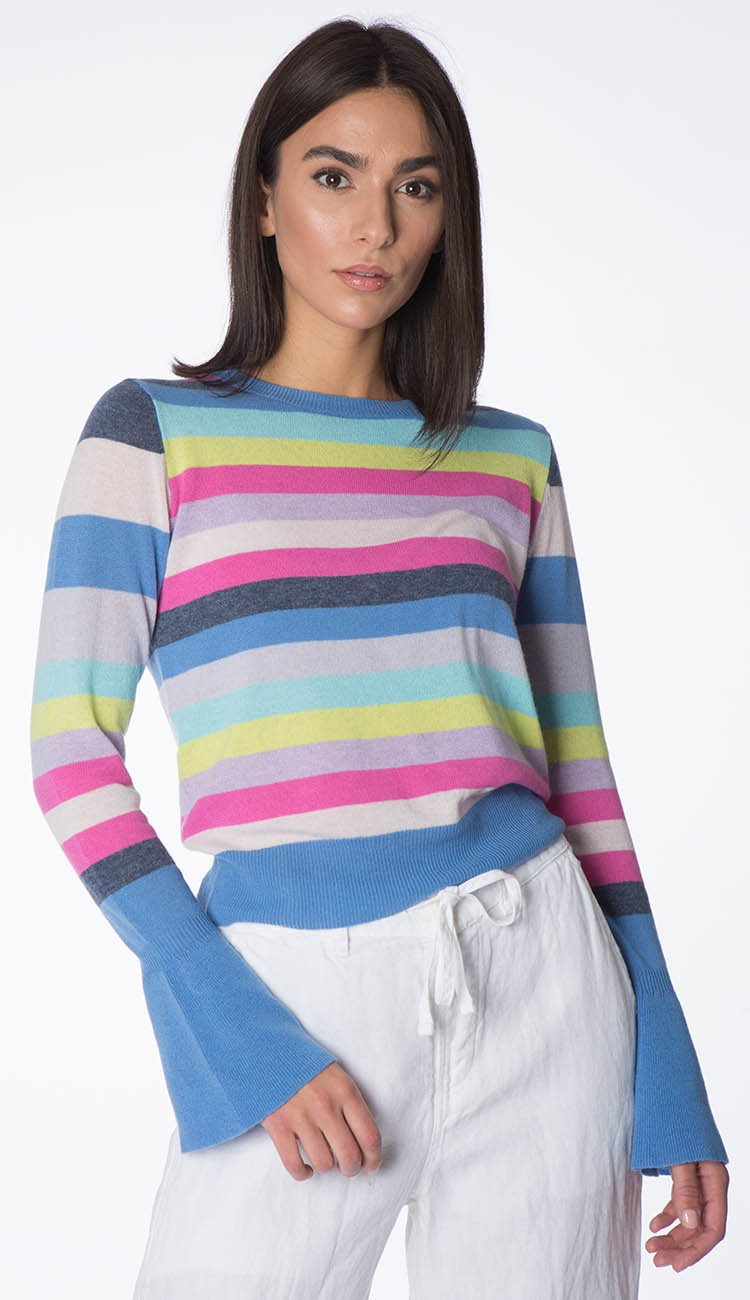 stripe bell-sleeve cashmere sweater by autumn cashmere