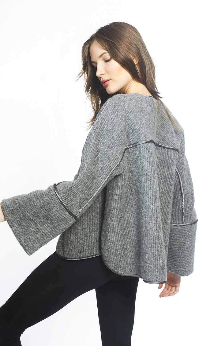 tatiana wool cape coat by garbe luxe back view