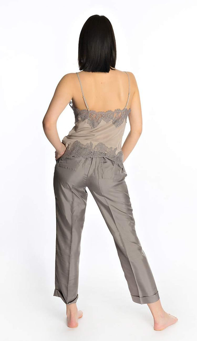 Silk Twill Pants in Taupe by Gold Hawk paired with the Coco Cami