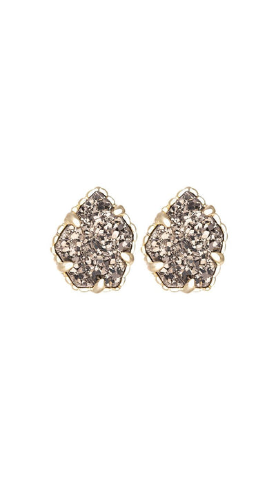 Platinum drusy tessa earrings by kendra scott