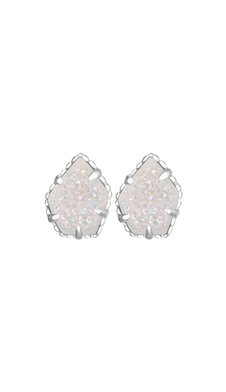 Iridescent Drusy Rhodium Tessa Earrings BY KENDRA SCOTT