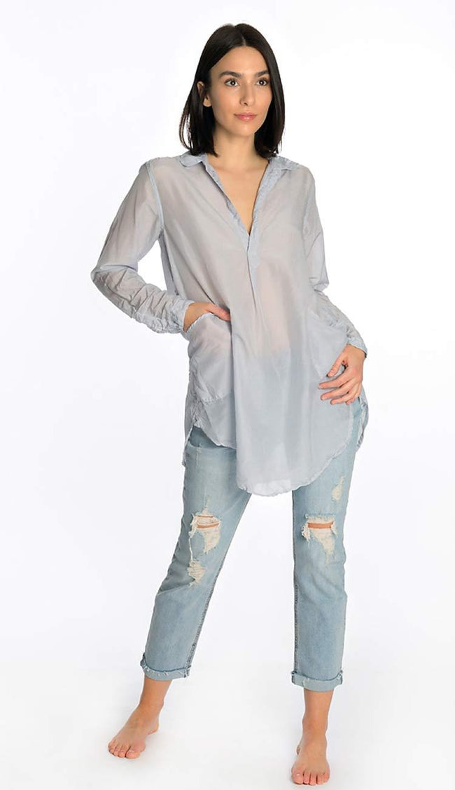teton silk shirt in shadow blue by cp shades full view
