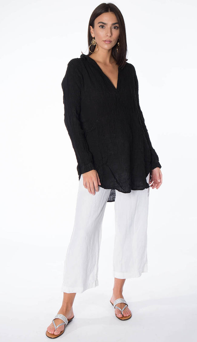 teton gauze black tunic full view shown with Riley Pant