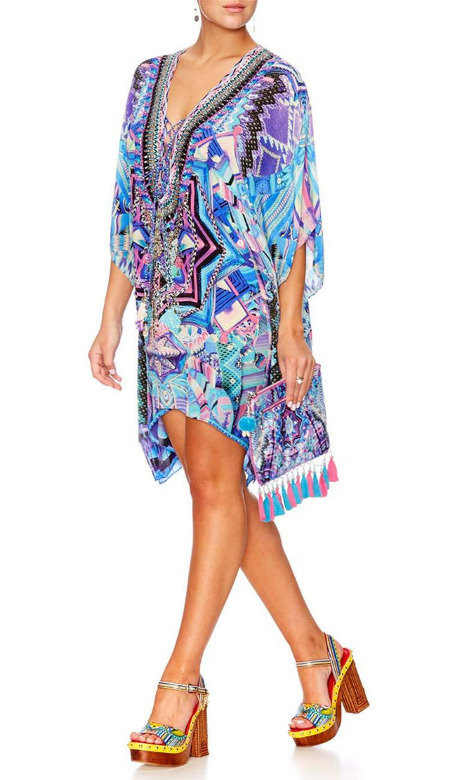 Threads of Cosmos Short Lace Up Kaftan by Camilla. Side view