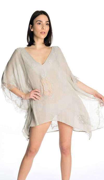 Tivoli Lace short tunic coverup grey by flora bella