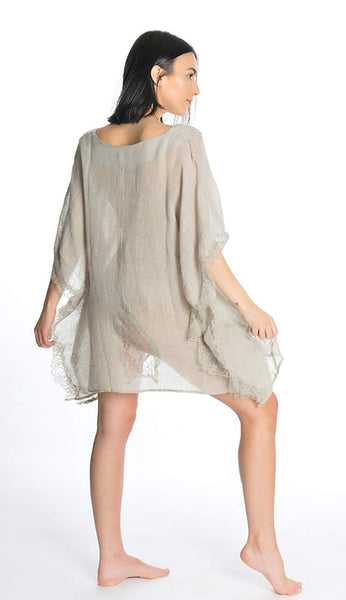 Tivoli Lace short tunic coverup grey by flora bella back view