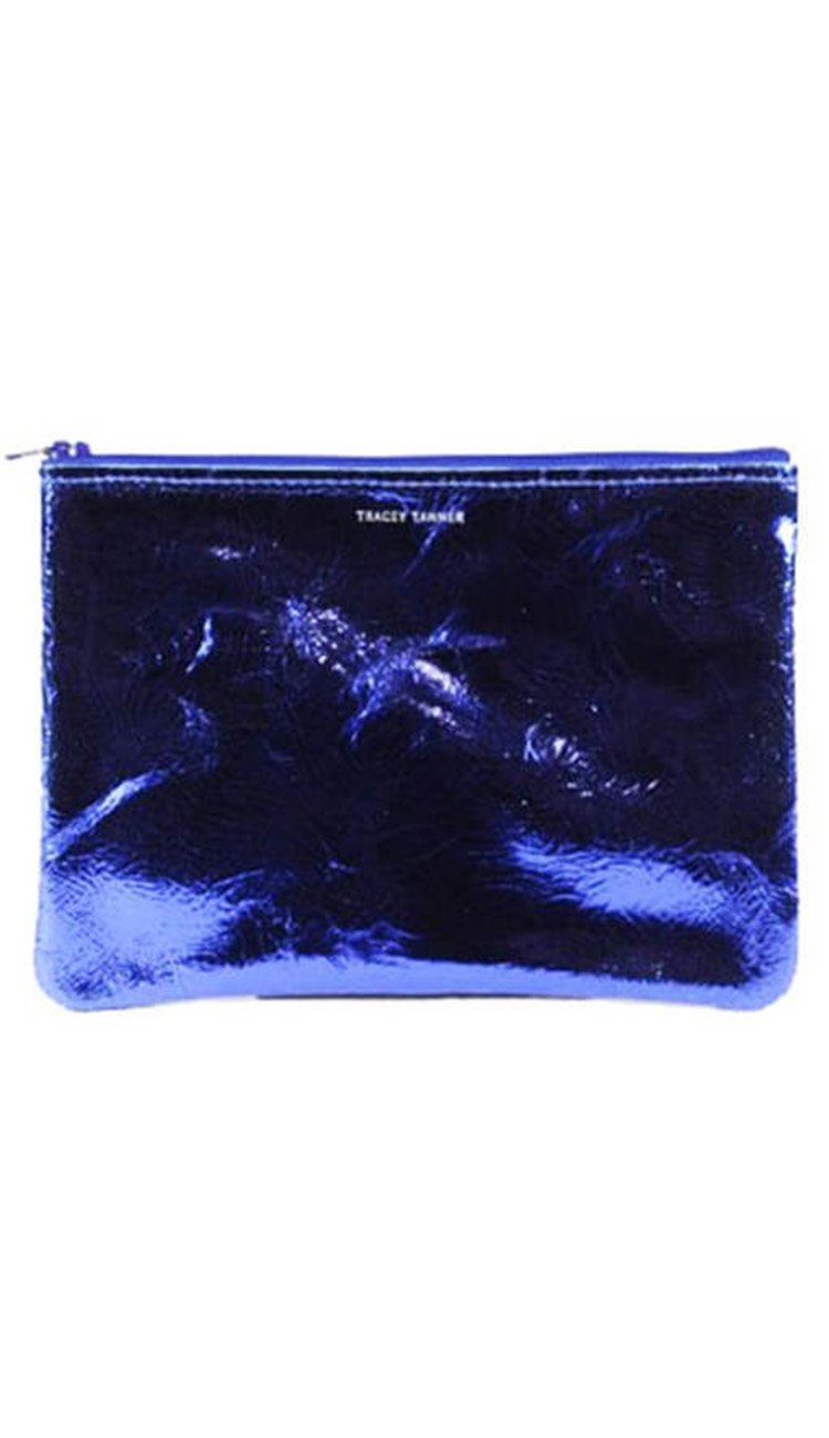 Cobalt Blue Foil Medium Flat Zip Pouch