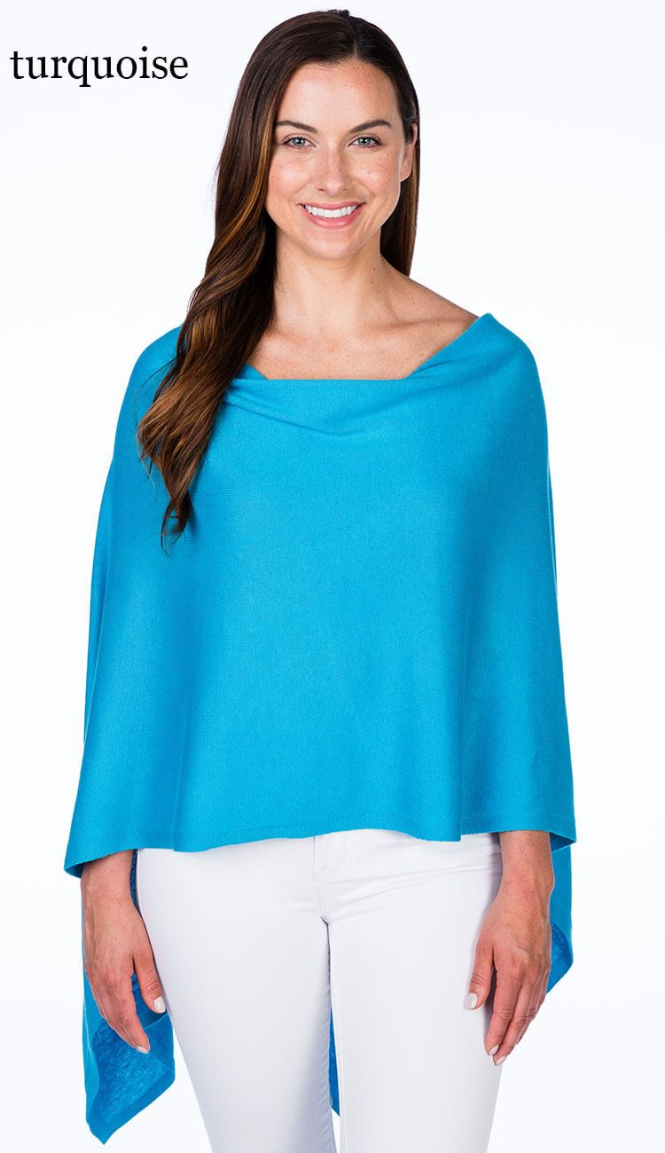 caroline grace cotton cashmere topper in turquoise