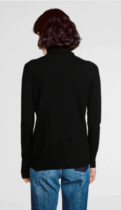 essential turtleneck black cashmere white and warren back view