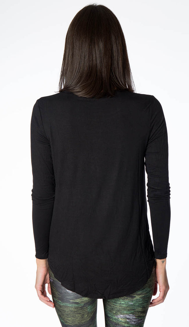 Twist front long sleeve top back view by terez