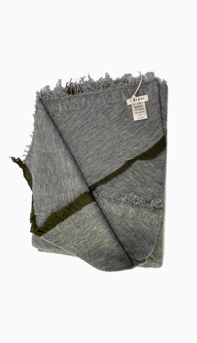 Rosa Grisal Cashmere Scarf in heathered grey with olive trim - paula and chlo