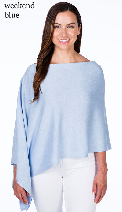 caroline grace cotton cashmere topper in weekend blue