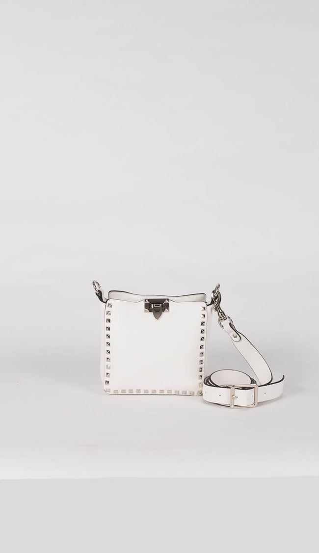 white studded crossbody bag front view by inzi