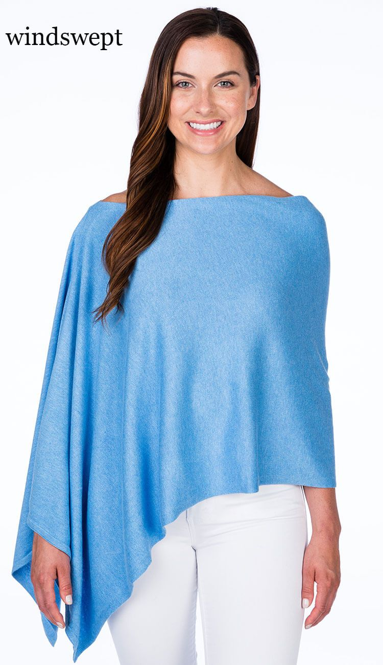 windswept blue cotton cashmere topper by caroline grace