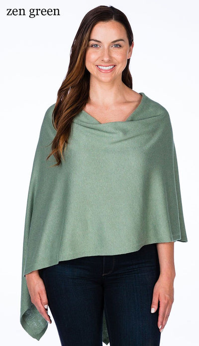 caroline grace cotton cashmere topper in zen green