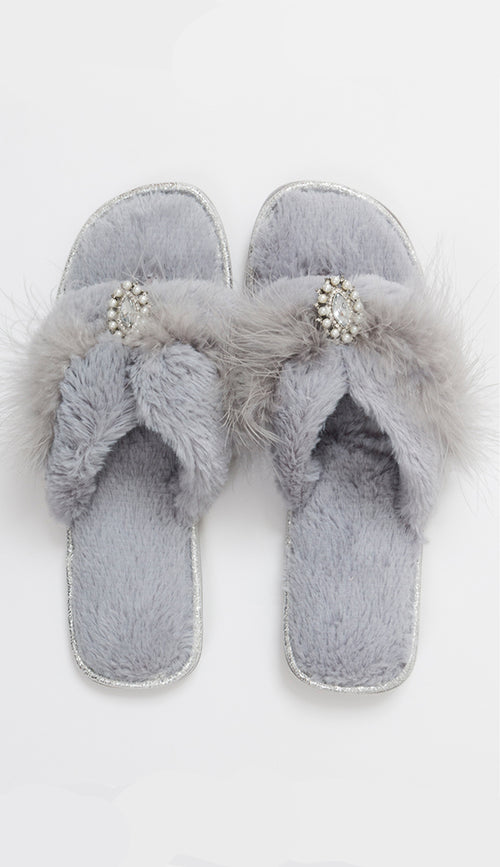 Zoe slippers in sliver grey by pia rossini