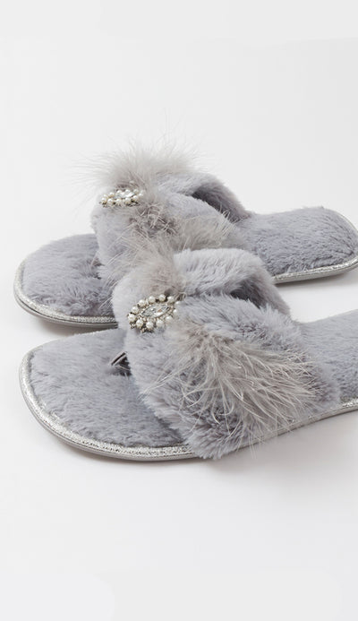 zoe slippers in silver grey side view