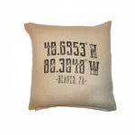 Beaver Latitude/Longitude Throw Pillow