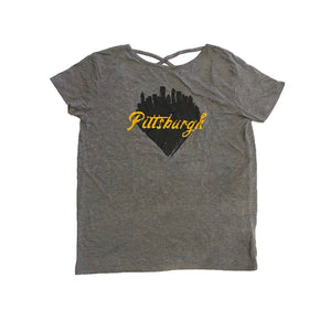Women's Pittsburgh Skyline Heart Tee