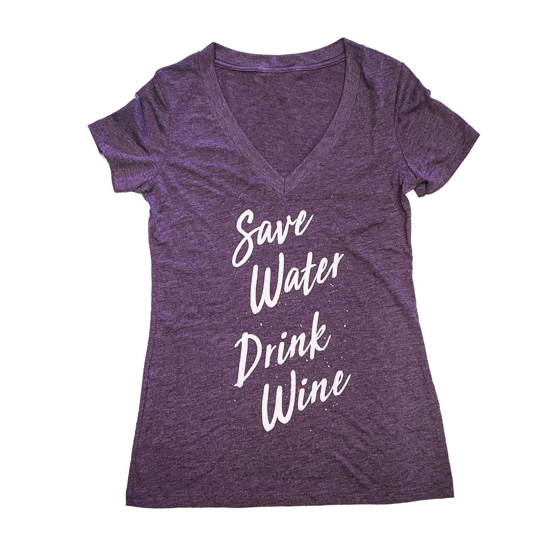 Save Water Drink Wine Purple V-Neck Tee