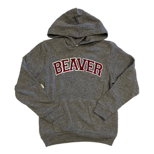 Youth Maroon and Gray Beaver Hoodie