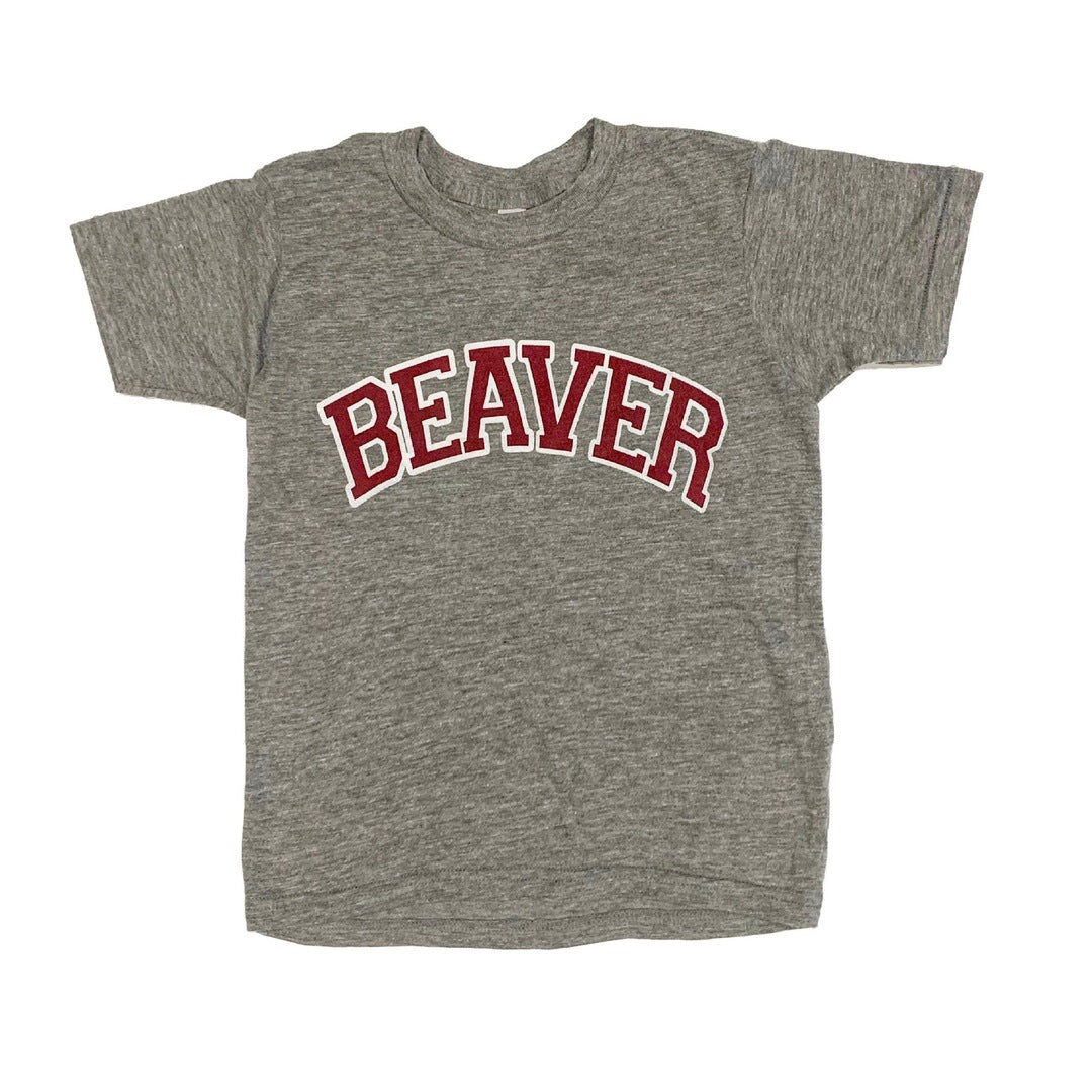 Youth Maroon And Grey Beaver Tee