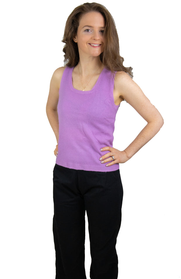 Cashmere Sleeveless Sweater in Lavender