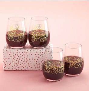 Partners in Wine Stemless Wine Glasses Set