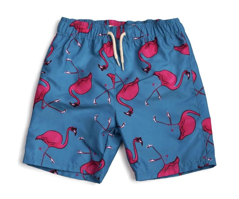 Flamingo Mid Length Swim Trunks