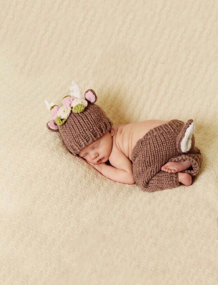 Hartley Deer with Flowers Newborn Set