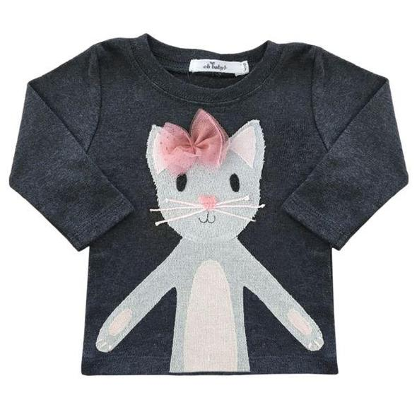 Long Sleeve Top - Phoebe Kitty Silver - Charcoal