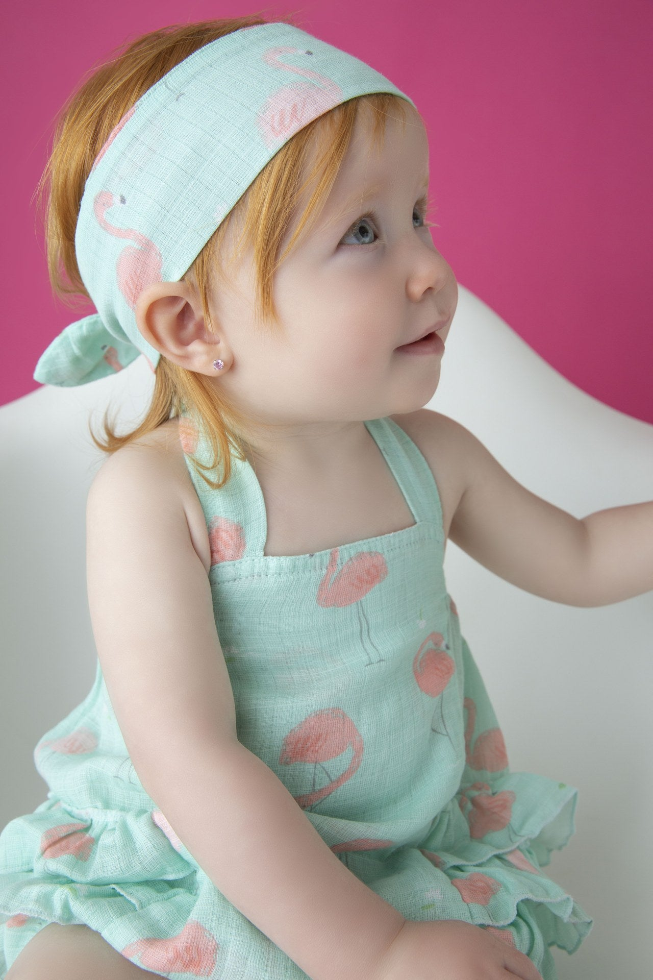 Flamingo - Muslin Ruffle Sunsuit
