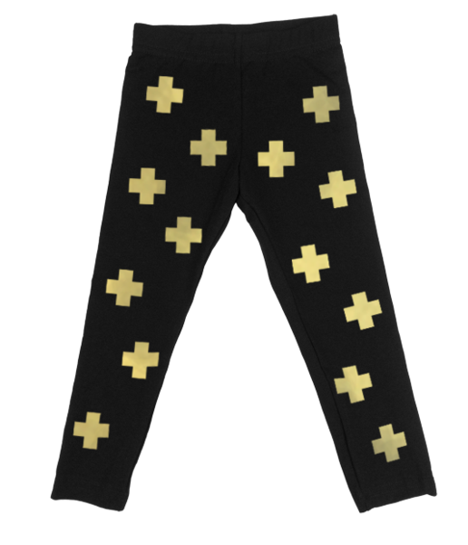 Gold Cross Black Leggings