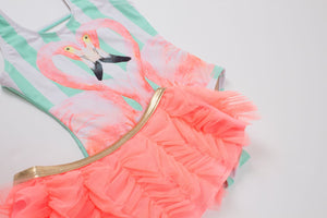Flamingo One Piece With Skirt