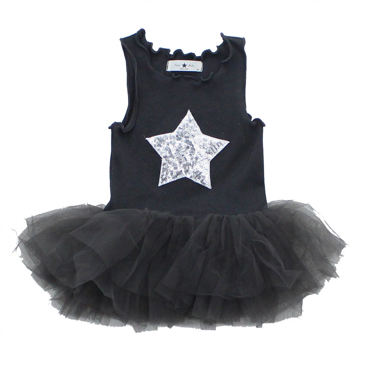 Baby Star Onesie Tutu Dress-Charcoal