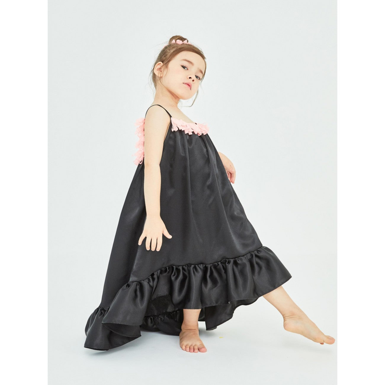 Ruffle Unbal Silk Dress - Black