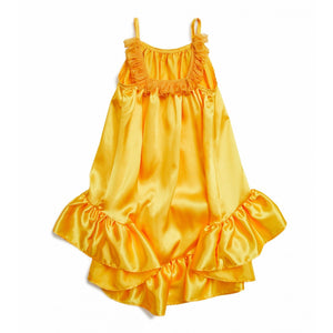 Ruffle Unbal Silk Dress- Yellow