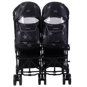 US 22 BLACK STARS DOUBLE STROLLER